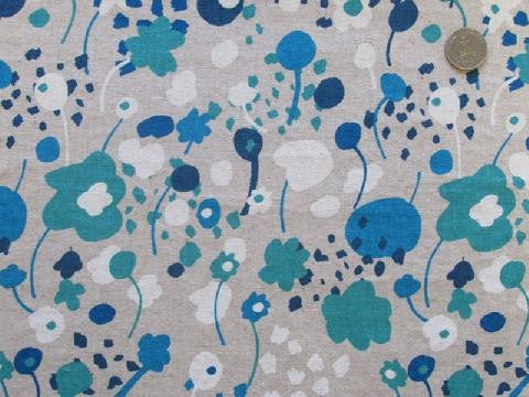 Spring Garden in Blue - Cotton Linen Japanese Fabric - Westex
