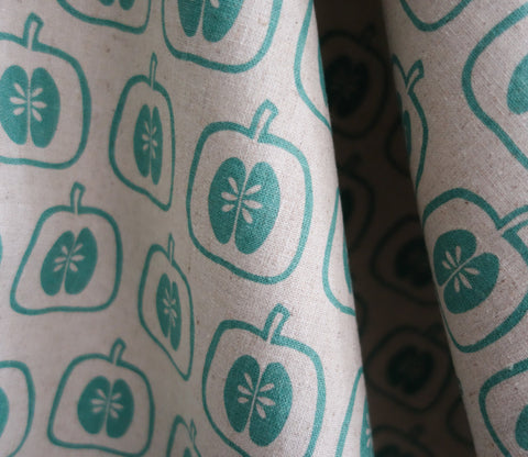 Apple Stamp - Teal - Westex - Japanese Fabric