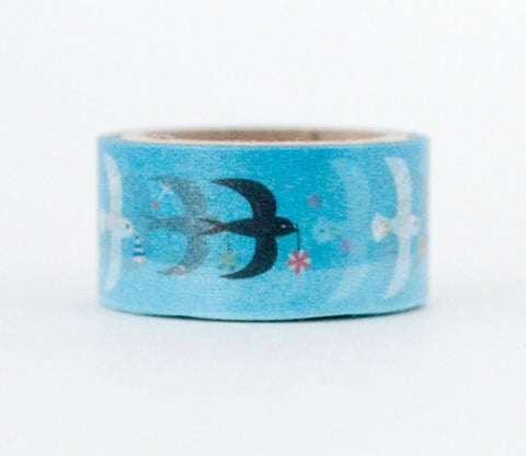 Seagull & Swallow Birds - Asamidori Deco Deco - Die Cut Washi Masking Tape