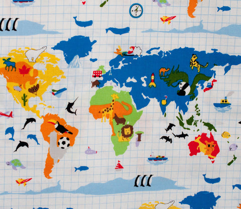 World Animals Map - White - Kokka