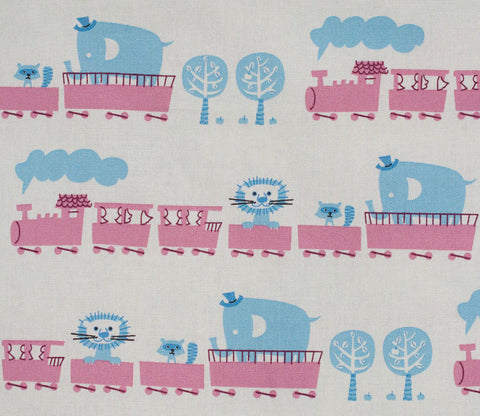 Circus Animal Train - Pink - Puti de Pome - Kiyohara Japanese Fabric