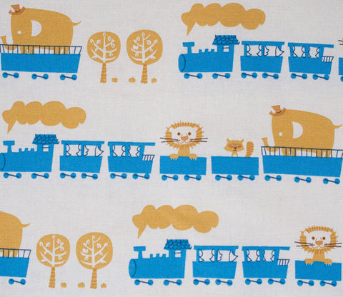 Circus Animal Train - Blue - Puti de Pome - Kiyohara Japanese Fabric