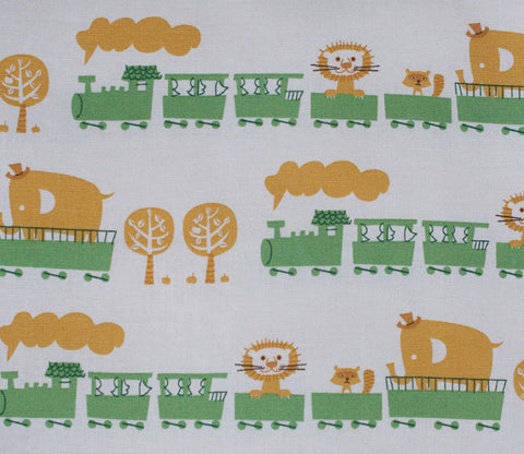 Circus Animal Train - Green - Puti de Pome - Kiyohara Japanese Fabric