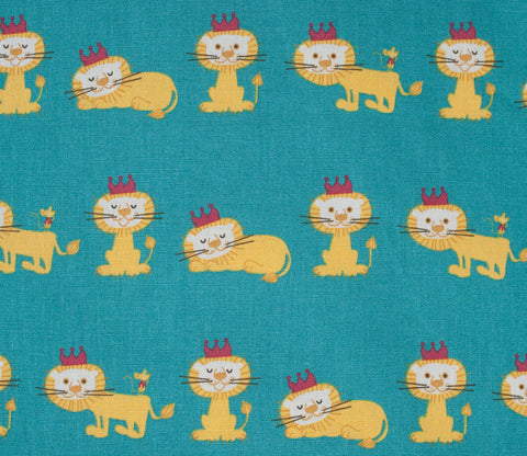 Royal Lion Fabric - Green Blue - Puti de Pome - Kiyohara Japanese Fabric