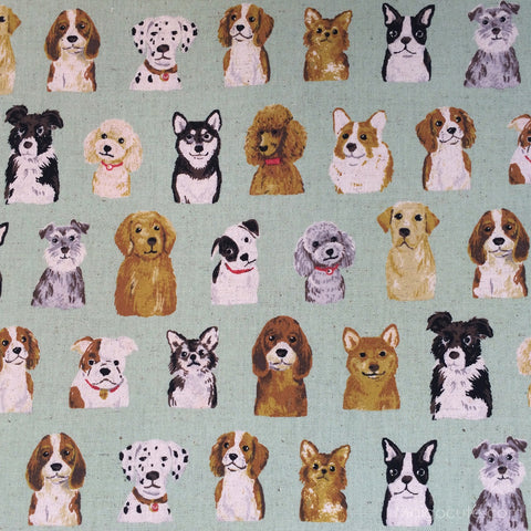Dog Show - Green - Cotton Linen Lightweight Canvas Japanese Fabric