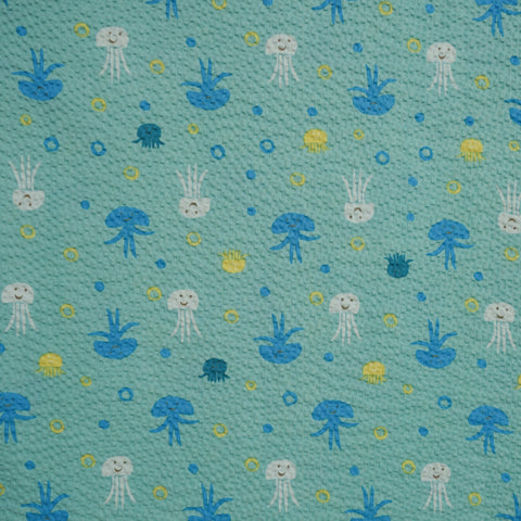 Jumping Jellyfish - Blue Green - Japanese Seersucker Cotton Fabric - Kiyohara