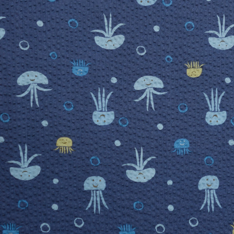 Jumping Jellyfish - Navy Blue - Japanese Seersucker Cotton Fabric - Kiyohara