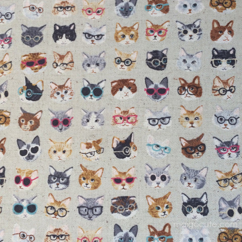 Clever Cats with Glasses - Beige - Cotton Linen Lightweight Canvas Japanese Fabric
