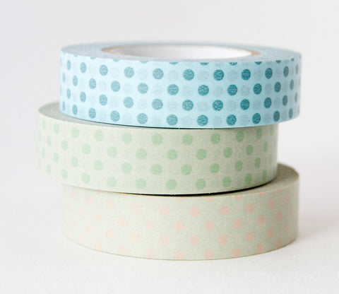 Polka Dots (Blue - Green - Pink) Japanese Washi Tape Set