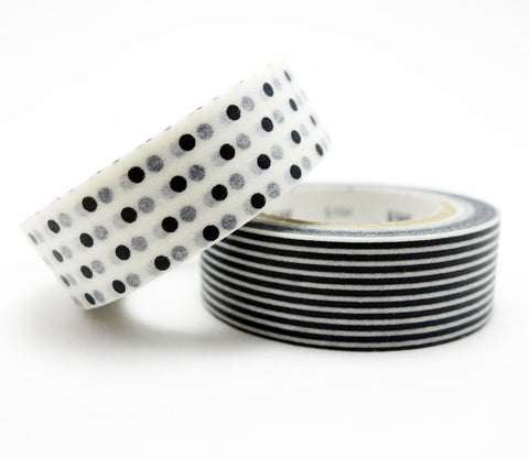 Monochrome Black & White Border & Dots - Washi Tape
