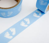 Blue Baby Footprints Washi Tape