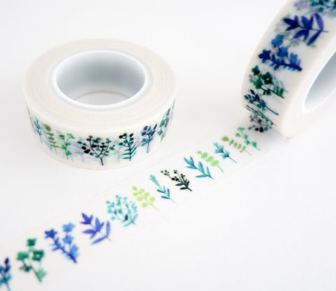 Blue Green Leaves and Plants Washi Tape