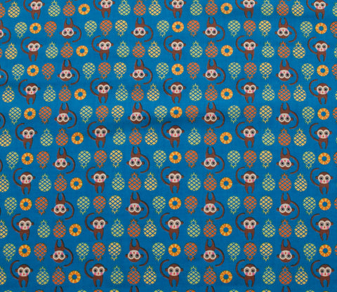 Monkeys & Pineapples - Blue - Tiny Prints - Lecien