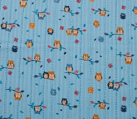 Owls - Blue - Westex Dobby Cotton Japanese Fabric