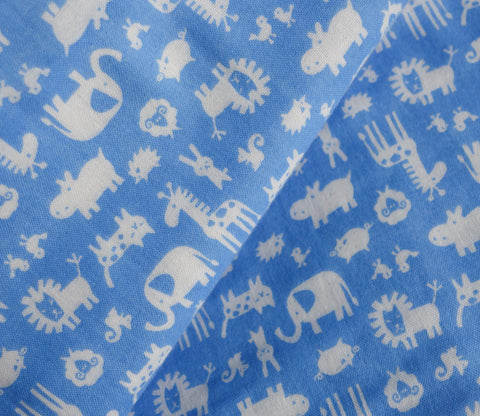 Blue Safari Animals - Double Gauze Japanese Fabric