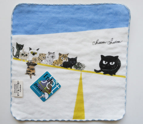 Cat Balance Beam - Small Towel - Shinzi Katoh - Chaton - Zakka