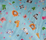 Crayon Animals - Pandas, Lions, Elephants - Double Gauze Japanese Fabric