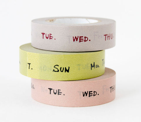 Days of the Week (Green - Grey - Pink) Japanese Washi Tape Set