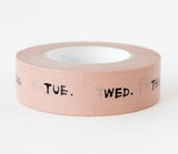 Days of the Week - Pink - Japanese Washi Tape Set