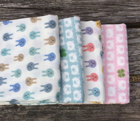 Bunnies and Pigs Double Gauze Fabric Bundle