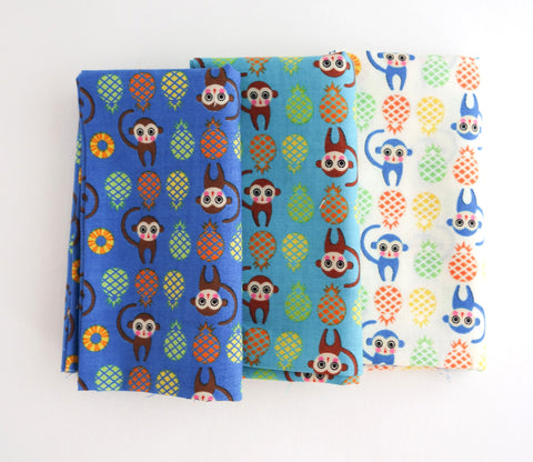 Monkeys & Pineapples - Japanese Fabric Bundle