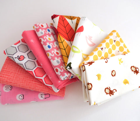 Yellow and Pink - Japanese and Organic Fabric Fat Quarter Bundle