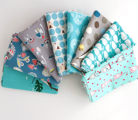 Teal Green  - Japanese and Organic Fabric Fat Quarter Bundle