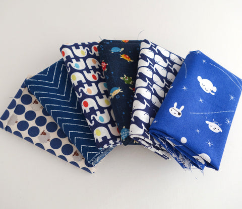 Dark Blue  - Japanese and Organic Fabric Fat Quarter Bundle