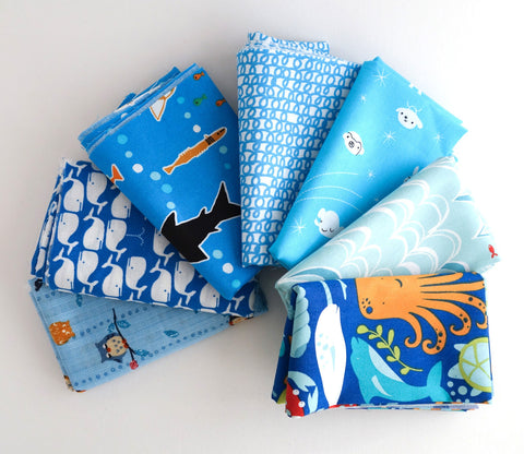 Light Blue  - Japanese and Organic Fabric Fat Quarter Bundle