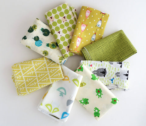 Yellow and Green - Japanese and Organic Fabric Fat Quarter Bundle