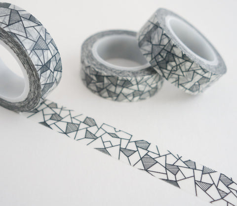 Modern Black and White Abstract Washi Tape - Geometric Washi Tape