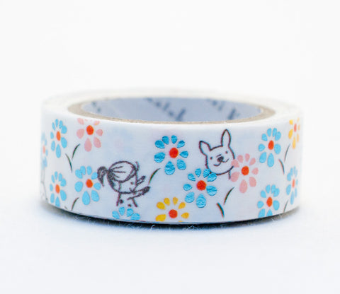 Dog and Flower - Hide and Seek - Shinzi Katoh Blue Foil Washi Tape