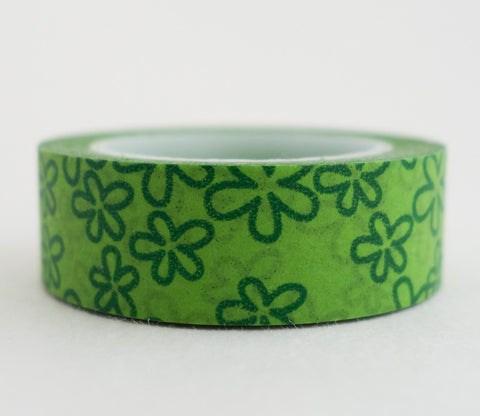 Green Flowers Washi Tape - Floral Washi Tape