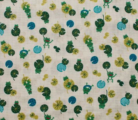 Frogs and Lilypads - Green - Westex Dobby Cotton Japanese Fabric