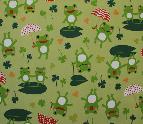 Happy Frogs with Umbrellas - Kiyohara Fabric