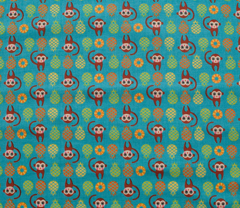 Monkeys & Pineapples - Teal - Tiny Prints - Lecien