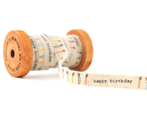 Happy Birthday - Shinzi Katoh Linen Tape 12mm