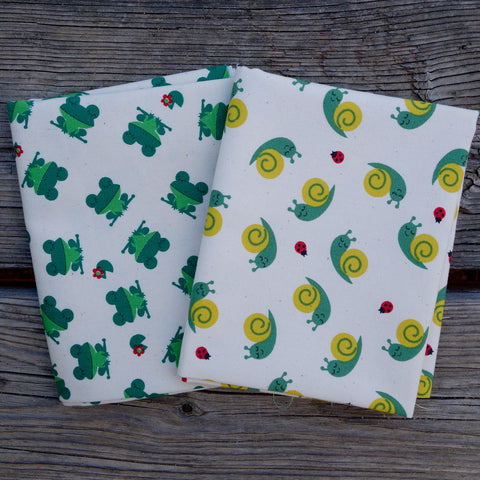 Happy Snails and Frogs - Mini Fat Quarter Fabric Bundle