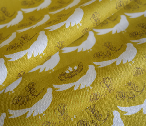 Nesting Birds - Light Olive Green - Hokkoh Japanese Fabric
