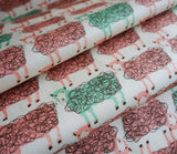 Scribble Sheep - Pink & Green Twill Cotton - Hokkoh Japanese Fabric