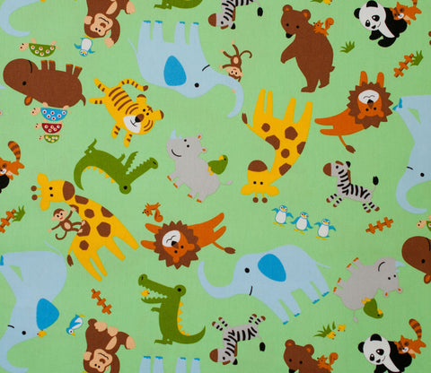 Animal Zoo - Green - Japanese Cotton Fabric - Kiyohara