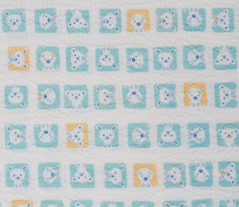 Animal Squares - Light Blue - Japanese Seersucker Cotton Fabric - Kiyohara