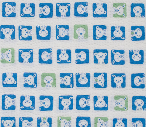 Animal Squares - Navy Blue - Japanese Seersucker Cotton Fabric - Kiyohara