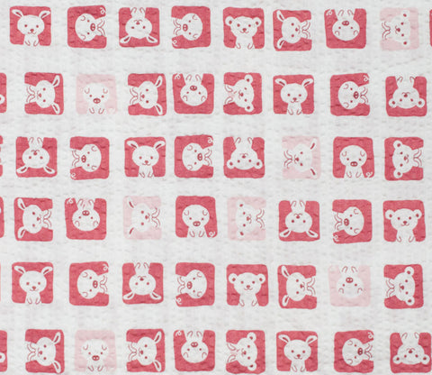 Animal Squares - Red and Pink - Japanese Seersucker Cotton Fabric - Kiyohara