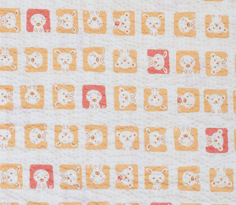 Animal Squares - Yellow and Red - Japanese Seersucker Cotton Fabric - Kiyohara