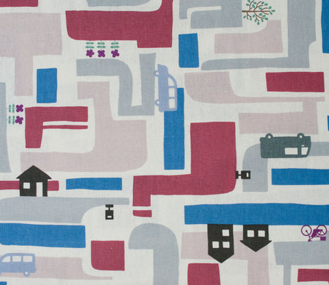 Neighborhood Houses - Kiyohara Japanese Fabric - Blue and Red