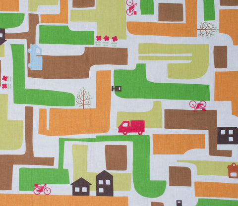 Neighborhood Houses - Kiyohara Japanese Fabric - Green and Brown