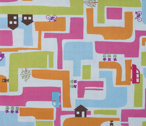 Neighborhood Houses - Kiyohara Japanese Fabric - Multicolored Pink