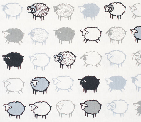 Baa Baa Black Sheep - White and Black - Japanese Cotton Linen Fabric - Kiyohara