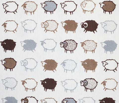 Baa Baa Black Sheep - Brown and White - Japanese Cotton Linen Fabric - Kiyohara